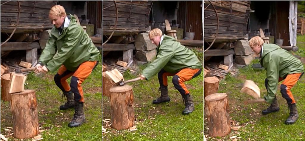 Petter Pilgaard sliter med å bruke øks.
