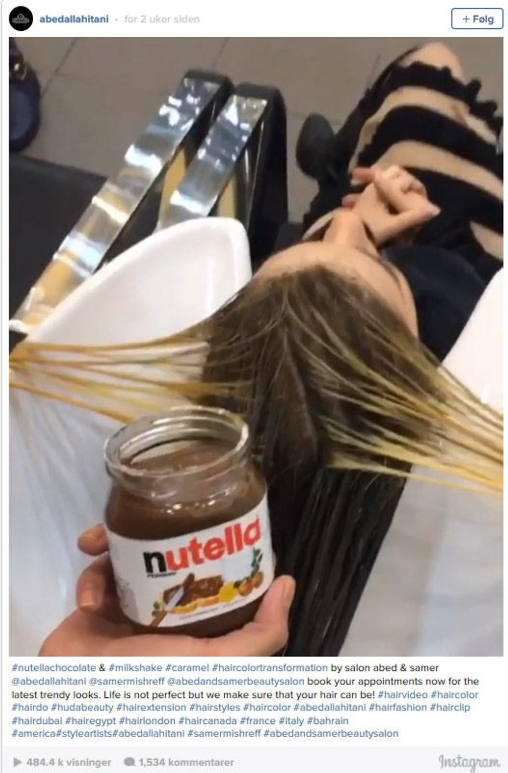 WOW: Oppskriften på en sunn og frisk hårfarge skal angivelig være striper med Nutella og litt kondensert melk.