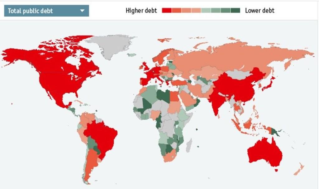 Illustrasjonen viser hvilke lnad som er mest tynget av gjeld. Rødt er høyest gjeld - sort minst.