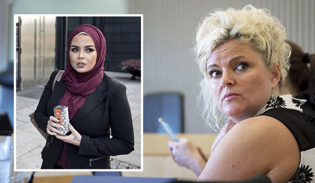 Frisør Merete Hodne i Jæren tingrett, tiltalt for å ha kastet Malika Bayan ut av salongen sin fordi Bayan bruker hodeplagget hijab.
