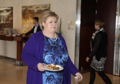 Partileder og statsminister Erna Solberg er til stede på Høyres felleskonferanse for sentralstyret, stortingsgruppen og regjeringsapparatet.