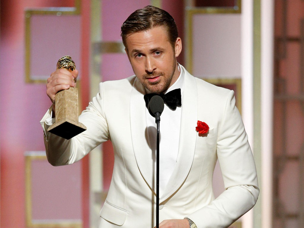 STOR TALE: Ryan Gosling takket hans aller nærmeste allierte, kjæresten Eva Mendes, med noen svært velvalgte ord.