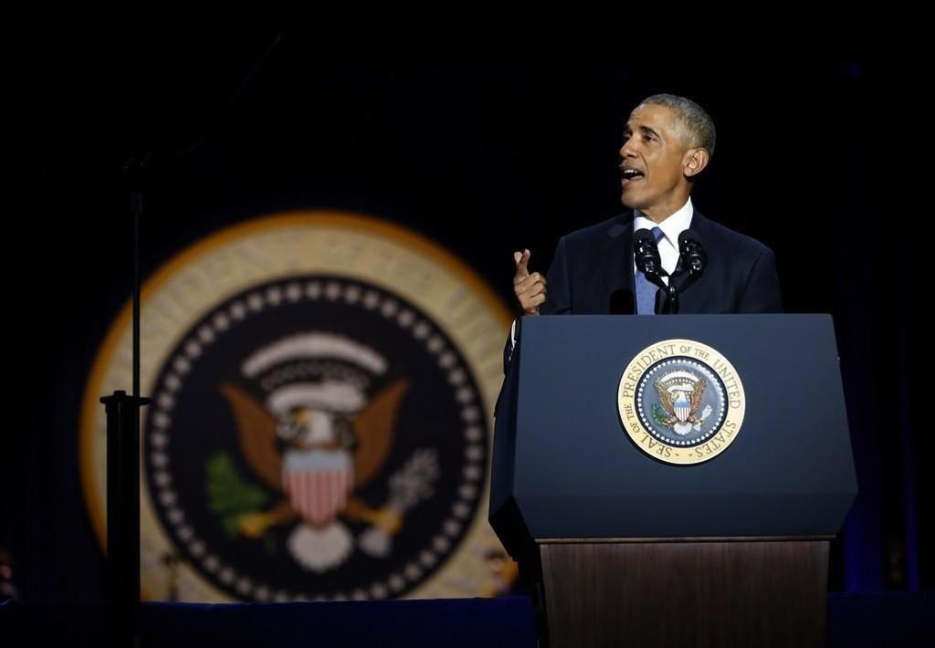 Barack Obama holdt sin avskjedstale på hjemmebane i Chicago.