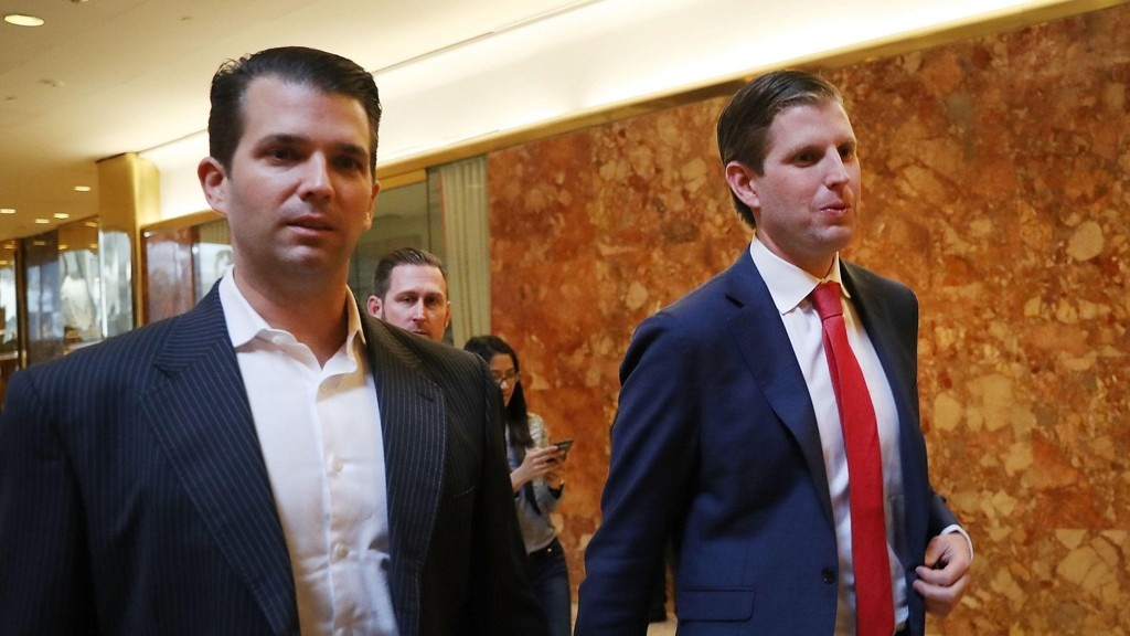 OVERTAR: Donald Trump junior (til venstre) og Eric Trump overtar ledelsen av familiens imperium.