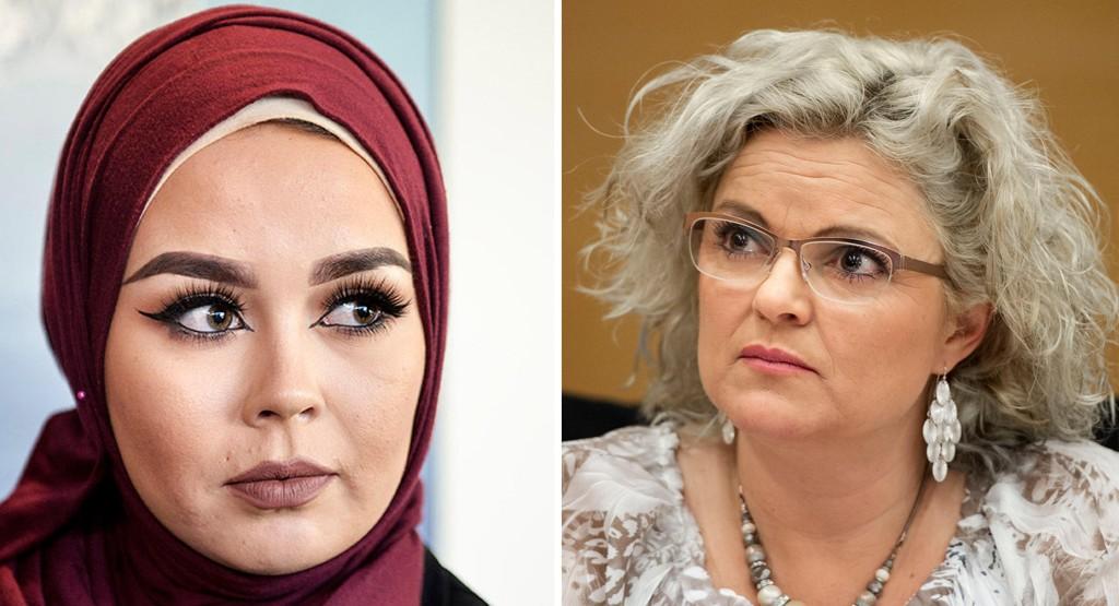 Merete Hodne (t.h.9 ble i lagmannsretten dømt for diskriminering av Malika Bayan i den såkalte hijabsaken. Nå barker de to sammen igjen i en ny rettstvist.