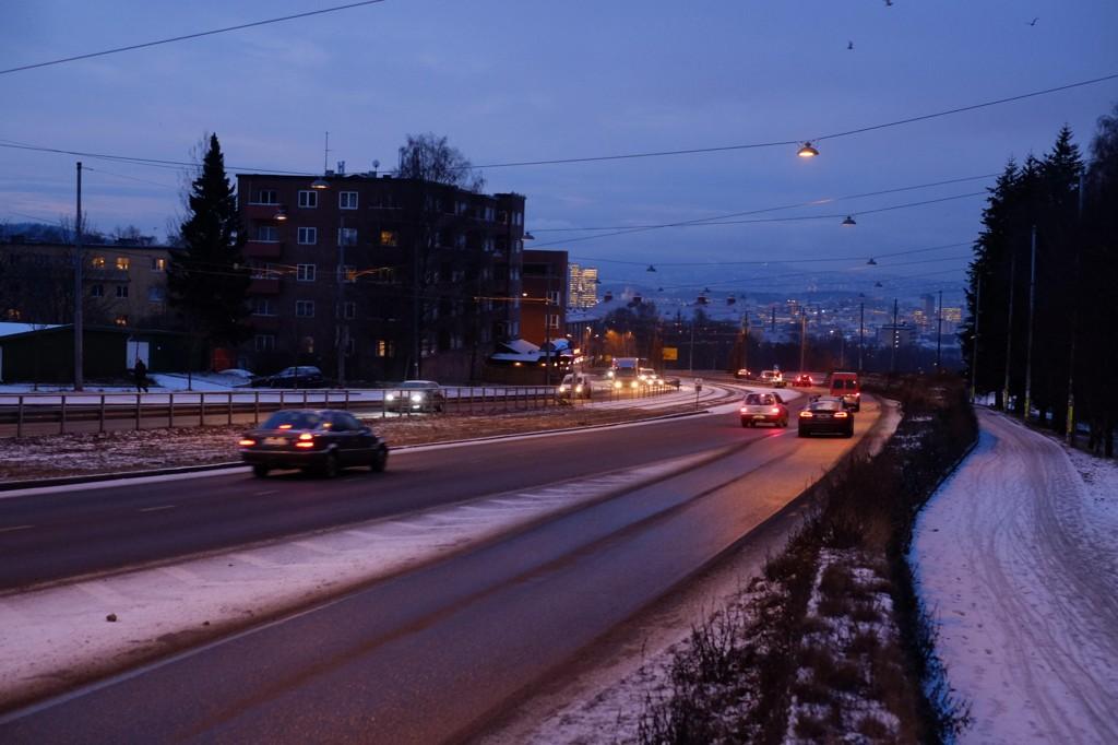 FORBUD: Trondheimsveien ved Sinsen tirsdag morgen, første dag med midlertidig dieselforbud i Oslo.