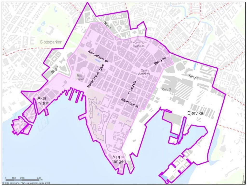 BILFRITT: Den mørk lilla linjen viser avgrensning for handlingsprogrammet for økt byliv, mens det lilla området er området for bilfritt byliv.