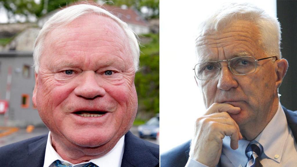 KRITISK: Trygve Hegnar (til høyre) er kritisk når John Fredriksen skylder på sin gamle venn Tor Olav Trøim.