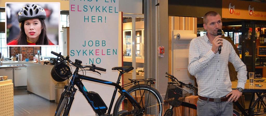 TØI-forsker Aslak Fyhri på et frokostseminar om elsykler i Oslo. Som kjent tilhenger av elsykler ble han hyret av miljøbyråd Lan Marie Nguyen Berg (innfelt) til å evaluere hennes og Oslos elsykkelprosjekt.