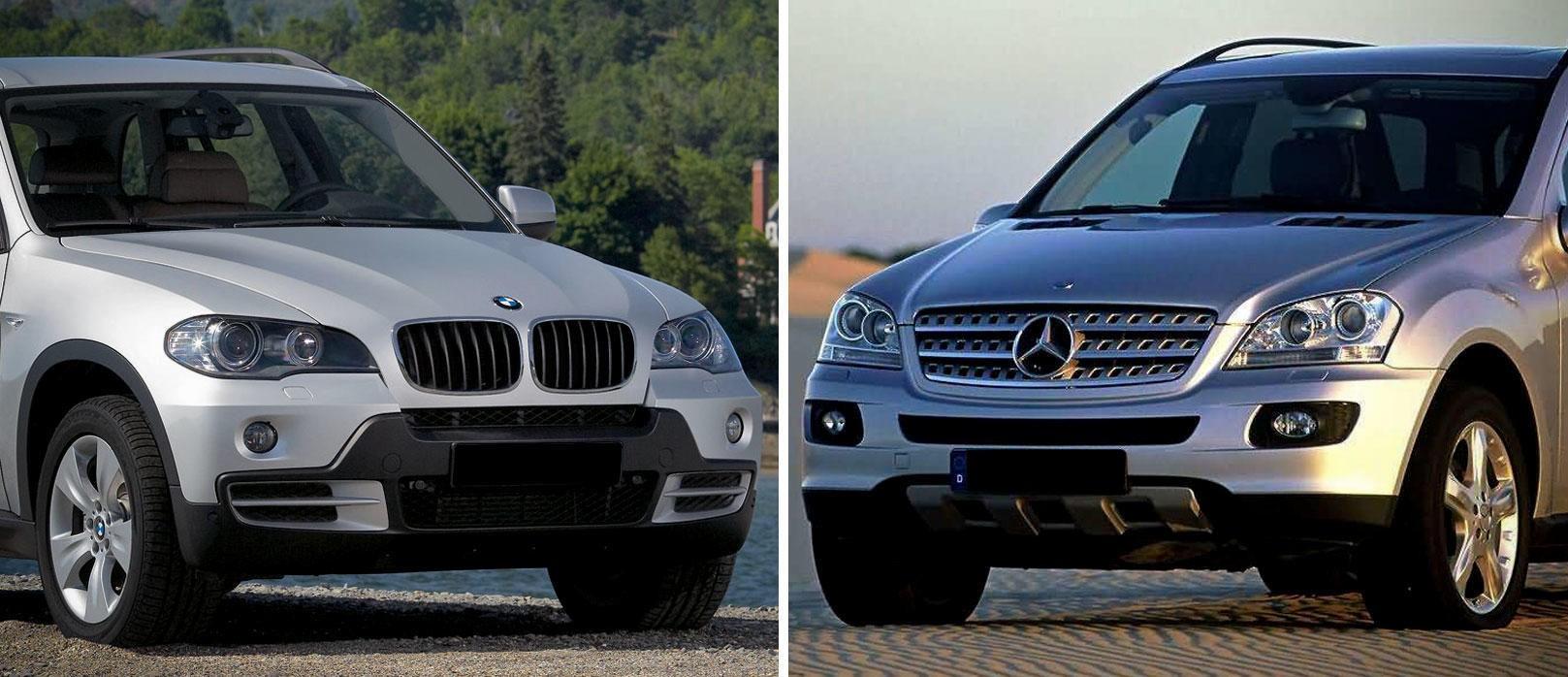 SOLIDE OG ROMSLIGE: Andre generasjon av Mercedes ML og BMW X5 er solide og romslige SUV-er. Nå har dessuten prisen begynt å bli overkommelig.