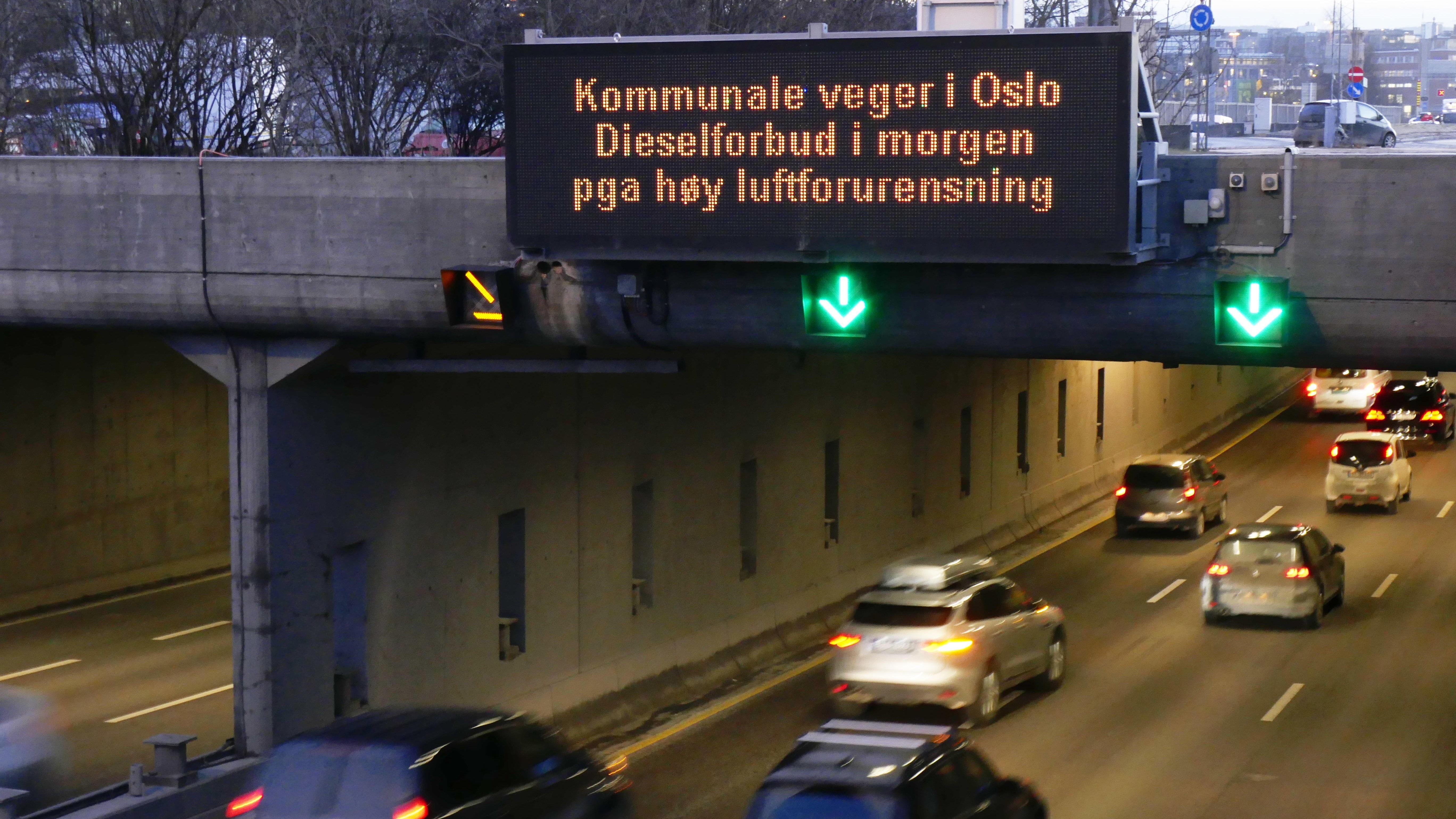 Dieselforbud ble for første gang testet ut i Oslo i januar.