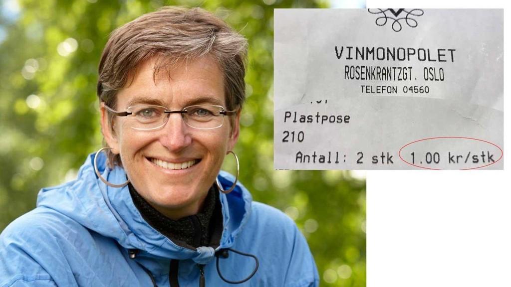 Miljødirektoratets direktør Ellen Hambro vil ha en kraftig statlig avgift på plastposer. Et godt sted for staten å begynne er å skru opp prisen på plastposer på Vinmonopolet.