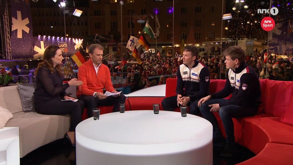 VEKKER OPPSIKT: Denne sekvensen med Emil Iversen og Johannes Høsflot Klæbo i sofaen hos NRK har skapt flere sterke reaksjoner.
