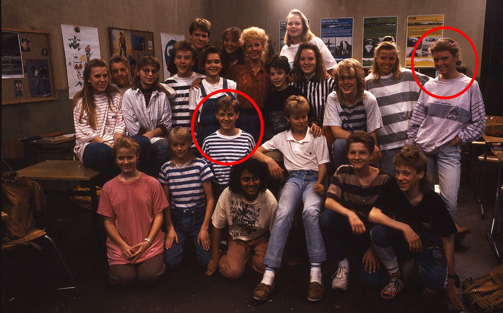 Gjengen i Borgen skole. Håkon Navestad og Line Storesund Rondan med røde ringer.