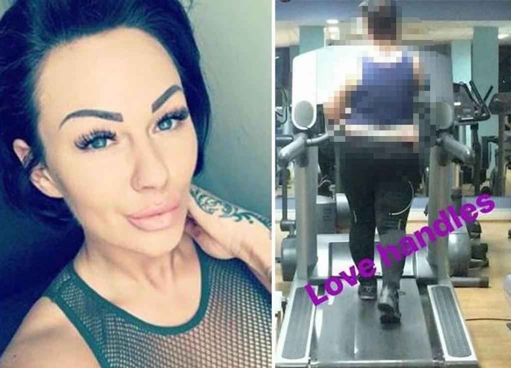 FÅR KJEFT: Bodybuilder Diana Andrews har fått mye kritikk etter at hun lastet opp et bilde av en fremmed kvinne på en tredemølle og gjorde narr av henne for sine 17.500 Instagram-følgere. Foto: Instagram