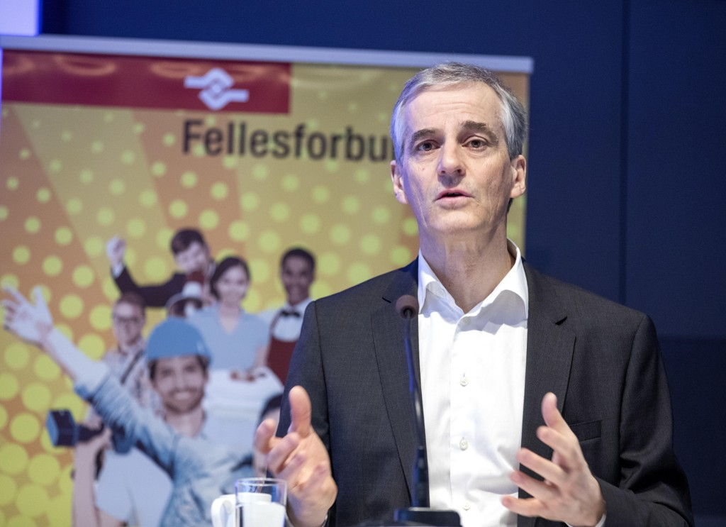 Arbeiderpartiets leder Jonas Gahr Støre under Fellesforbundets representantskap tidligere i måneden.