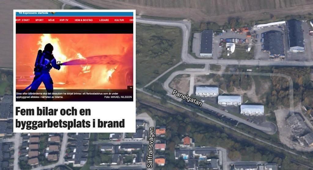 Fem biler ble satt i brann i Panelgatan i Oxie-området sør i Malmø natt til torsdag 16.03.17.