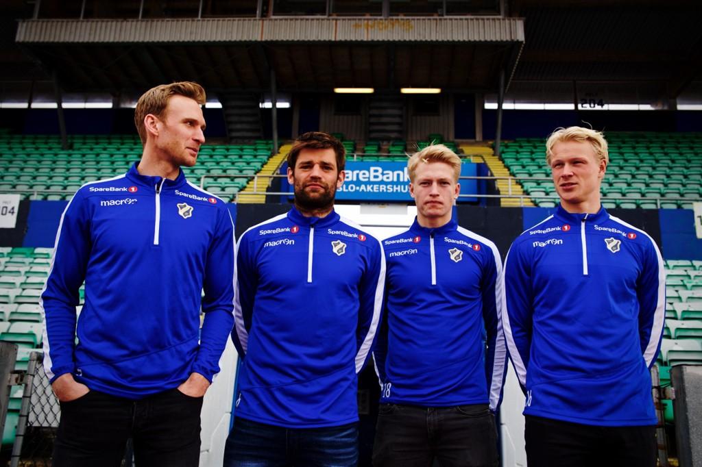 LOKALE HELTER: Håkon Skogseid, Morten Morisbak Skjønsberg, Andreas Hanche-Olsen og Jeppe Arctander Moe er forsvarsfireren fra Bærum som skal redde ny eliteseriekontrakt for Stabæk denne sesongen.