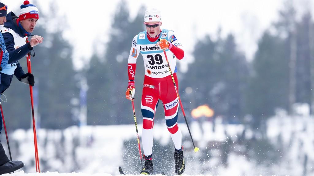 KLINTE TIL: Johanns Høsflot Klæbo tok seieren på lørdagens 15km.