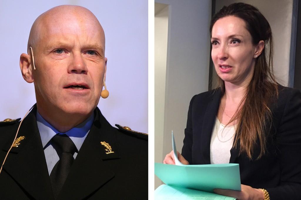 Visepolitimester i Asker og Bærum Terje Nybøe (t. v.) og advokat Victoria Holmen