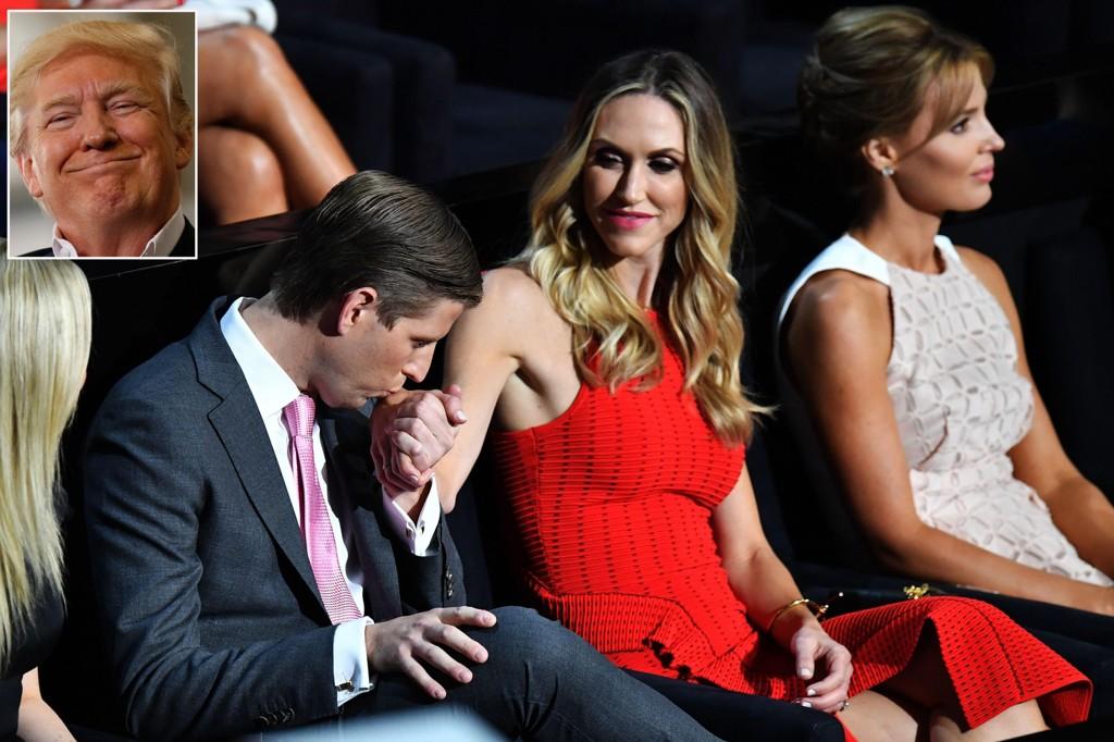 VENTER EN GUTT: Eric Trump (33) og kona Lara (34) venter sitt første barn i september, og USAs president Donald Trump (70) får dermed sitt niende barnebarn. Foto: Scanpix