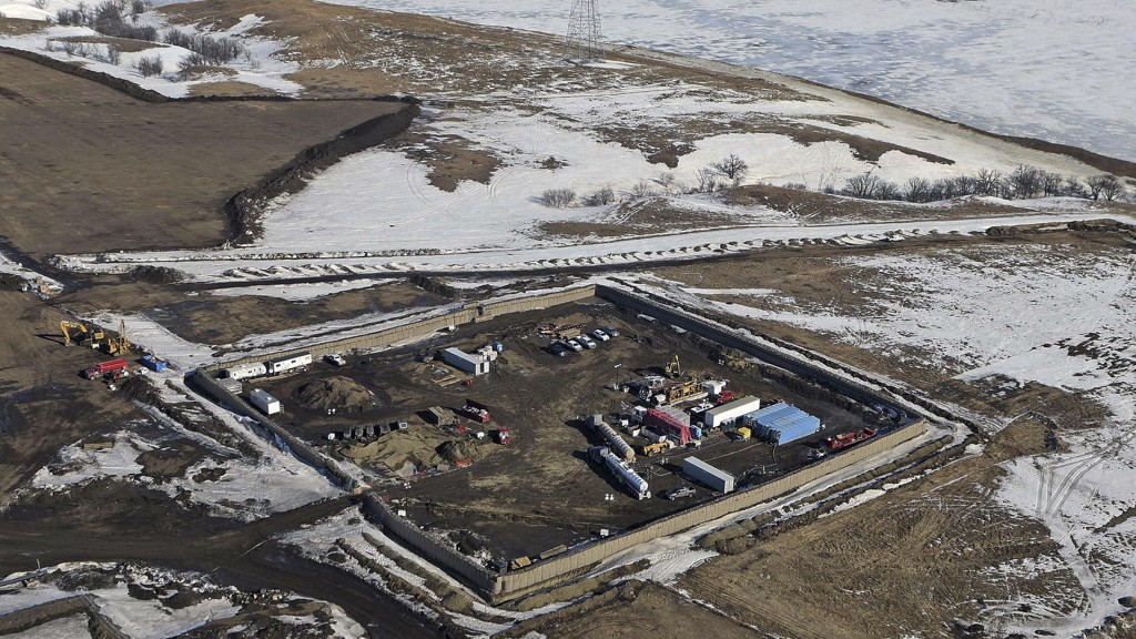 Dette bildet fra Lake Oahe-området i Emmons County nær Cannon Ball viser området der siste del av Dakota Access Pipeline skal settes i sammen.