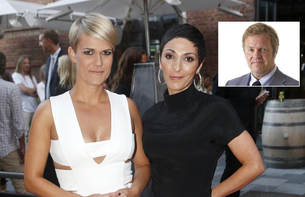 Sigrid Bonde Tusvik (t. v.) og Lisa Tønne star bak en av landets største podcaster. I den siste episoden fikk Tønnes ektemann gjennomgå, noe ekspert på ytringsfrihet og personvern Jon Wessel-Aas (innfelt) mener i prinsippet kan være straffbart.