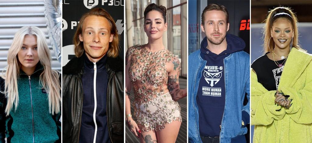 Astrid S (f.v.), Sondre Justad, Triana Iglesias, Ryan Gosling og Rihanna er alle på listen over kjendiser nordmenn helst ville datet.