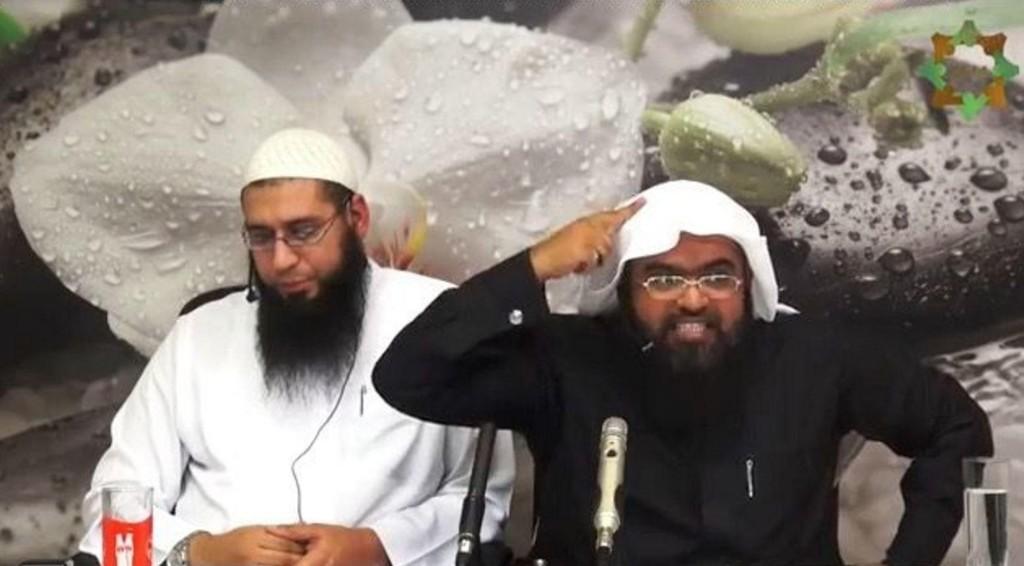 Abu Saad og foreleseren Muhammad al-Shahrani på en av videoene som har skapt overskrifter og debatt i Sverige.