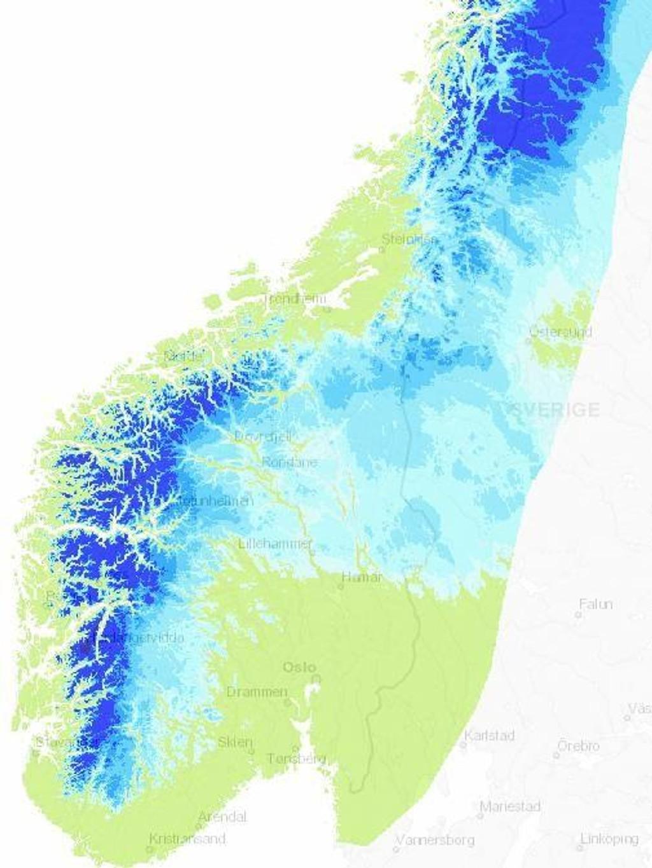 snødybde kart SNØ   Fjellpåske? Sjekk snødybden her snødybde kart
