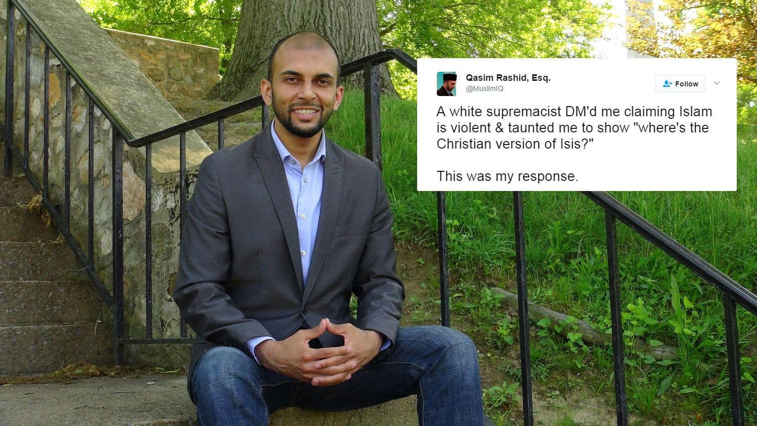 Den muslimske advokaten, forfatteren og menneskerettsaktivisten Qasim Rashid driver twitterkontoen MuslimIQ med i underkant av 60.000 følgere.