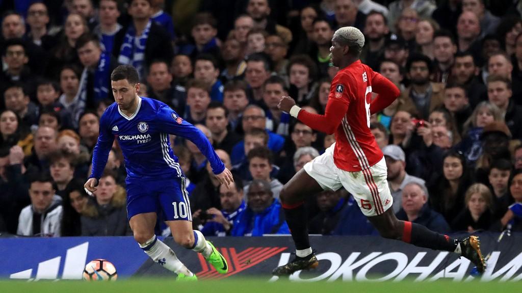 STORKAMP: Eden Hazard og Paul Pogba under møtet mellom lagene tidligere i sesongen.