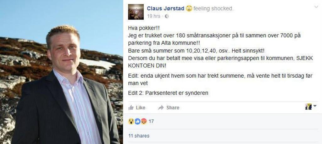 Claus Jørstad fikk en ubehaglig overraskelse da han oppdaget at kontoen var trukket med flere tusen kroner i småbeløper på grunn av avgifter knyttet til parkering.