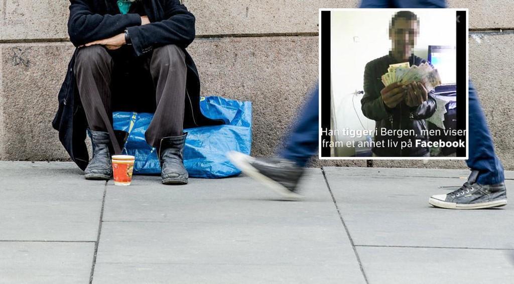 TIGGERMILJØ: Brennpunkt har kartlagt et nettverk i tilknytning til de som tigger på gaten i Bergen. på Facebook vises et vises et videoklipp av en mann som tigger på gaten i Bergen, men som på Facebook skryter av alle pengene han tjener. I et av klippene ser vi at mannen viser frem et bilde av et kjøleskap fullt av penger.