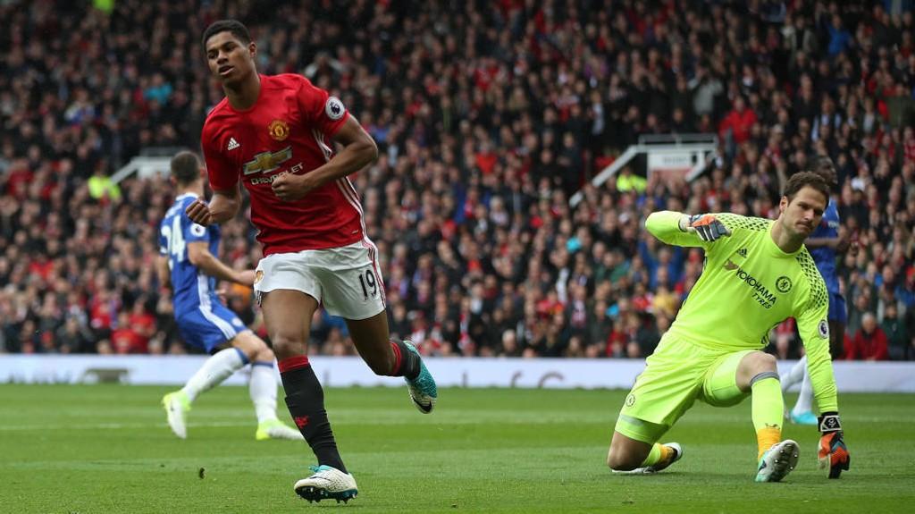 SENKET CHELSEA: Marcus Rashford senket Chelsea i helgens ligakamp.