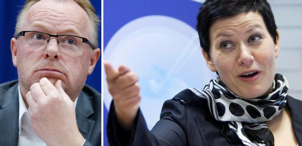 LEI SUTRING: Helga Pedersen mener at Frp har kommet til dekket bord etter en lang og streng Ap-linje i innvandringspolitikken, og at Per Sandberg nå må konsentrere seg om å gjøre jobben.