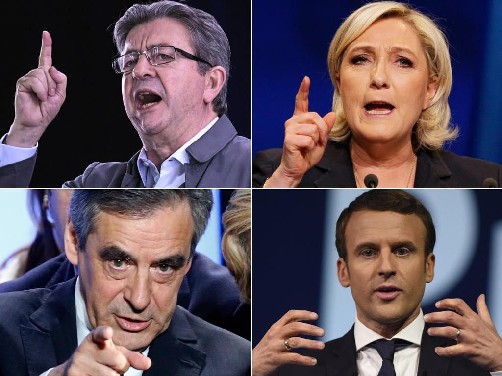Kandidatene Jean-Luc Mélenchon (Det opprørske partiet), Marine Le Pen (Nasjonal Front), Francios Fillon (Republikanske partiet) og Emmanuel Macron (En Marche) kjempe rom å bli Frankrikes neste president.