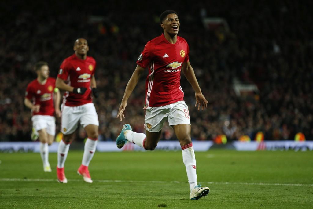 HELTEN: Marcus Rashford kunne juble da han satte inn 2-1 for Manchester United i 2. ekstraomgang mot Anderlecht.