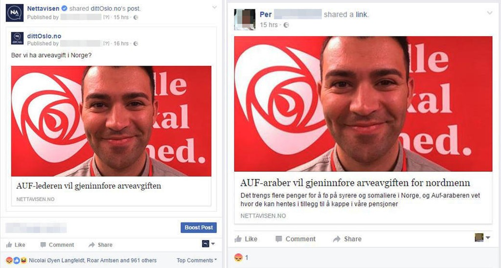 EKTE OG FALSK: Nettavisen la ut en artikkel om AUF og arveavgift på Facebook (til venstre). Etter dette ble delingen endre for å skape fordommer og hat (til høyre).