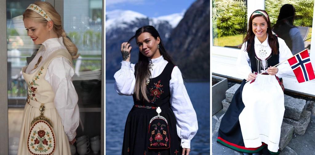 Side2-bloggerne i bunadsstasen. F.v. Julianne Nygård, Sophie Vågsæter og Maren Erdvik.