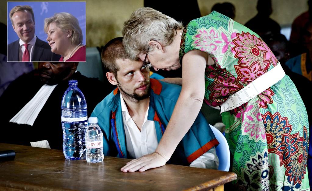 Utenriksminister Børge Brende og statsminister Erna Solberg takket gjentatte ganger Joshua French mor, Kari Hilde French, for innsatsen hun har gjort for å få sin sønn hjem.