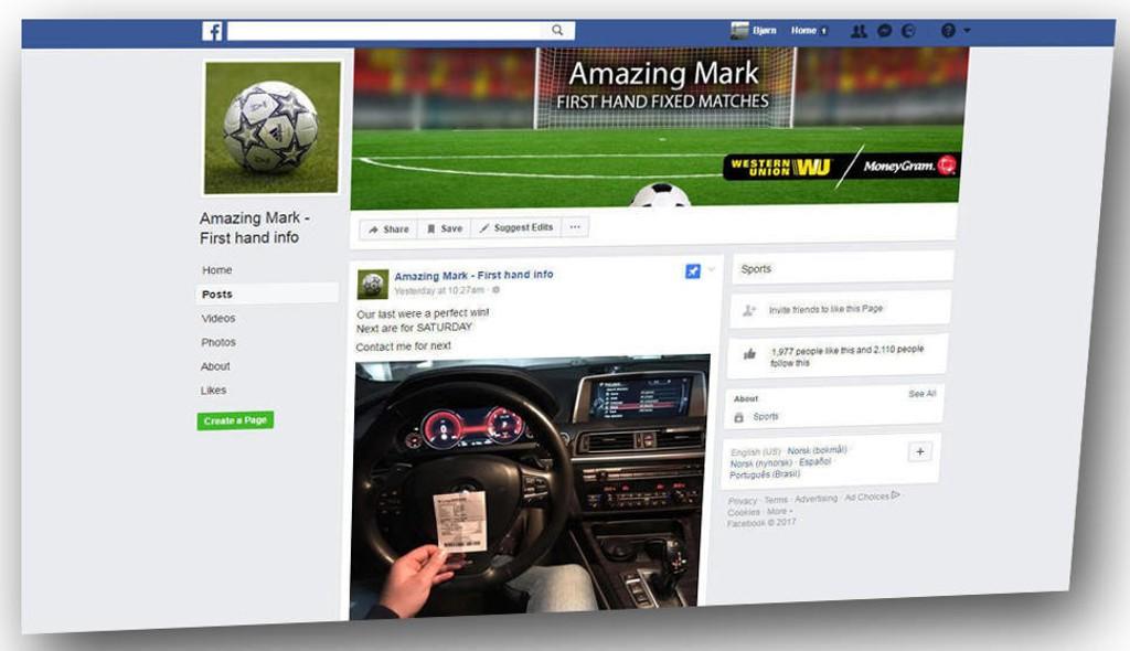 SKRYTEBILDER: Folk som går inn på Facebook-siden blir møtt med skrytebilder med dyre biler og manipulerte oddskvitteringer.