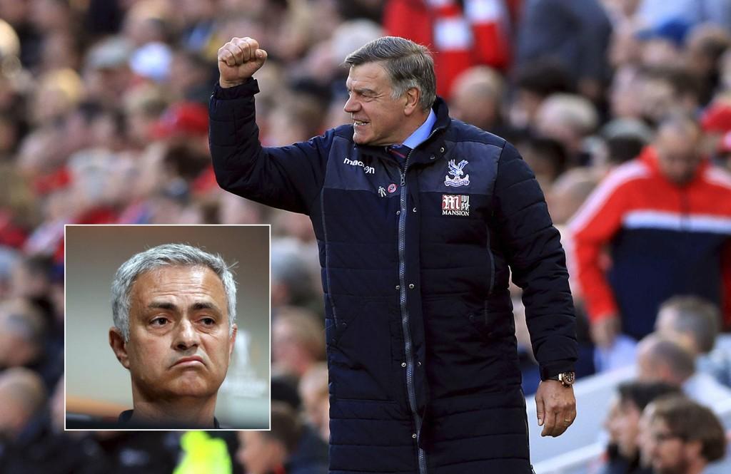 FULL STØTTE: Crystal Palace-manager Sam Allardyce gir sin fulle støtte til Manchester United-manager José Mourinho (innfelt) før møtet mellom de to klubbene.