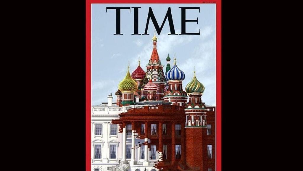 KONTROVERSIELL: Den nye forsiden fra TIME Magazine levner liten tvil om hva de tenker vedrørende det angivelige samarbeidet mellom Russland og USA.