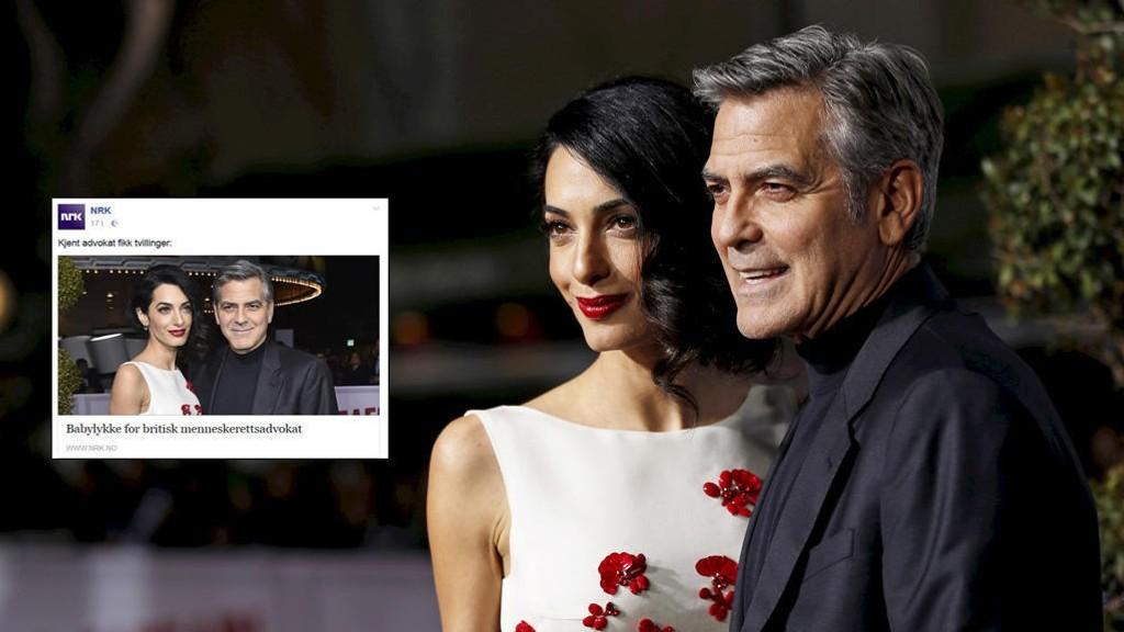 TVILLINGER: George og Amal Clooney har blitt foreldre. «Kjent advokat fikk tvillinger,» skriver NRK - til stor jubel på sosiale medier.