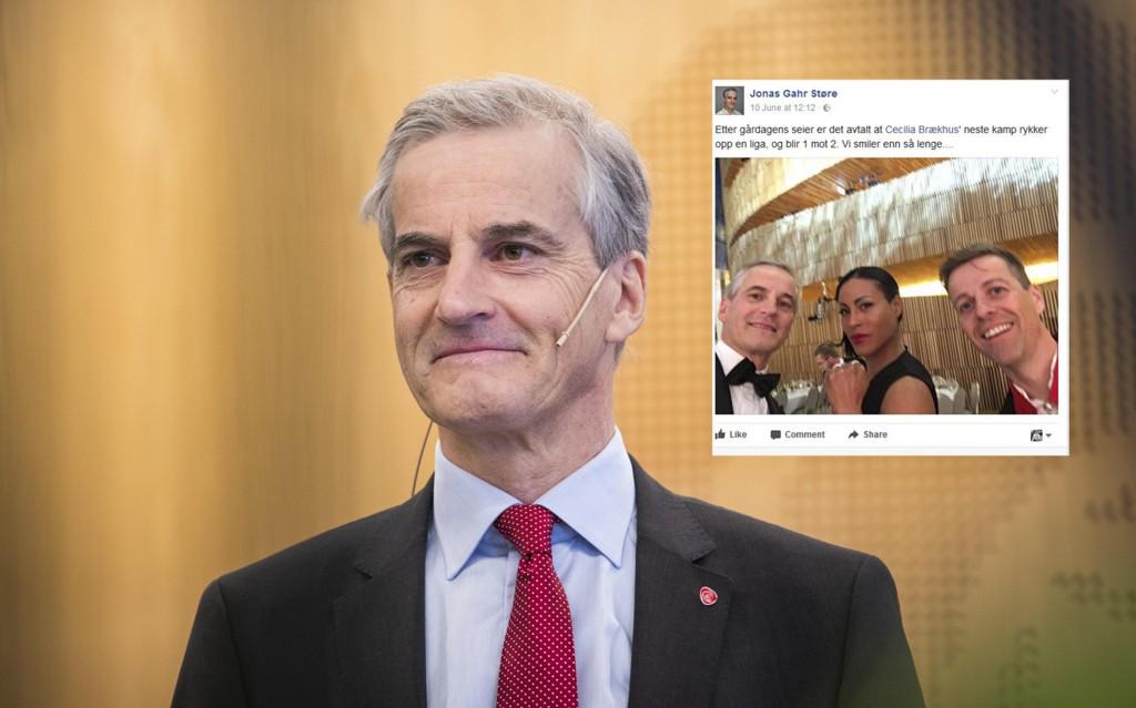 FÅR KRITIKK: Ap-leder Jonas Gahr Støre la ut et foto på Facebook lørdag sammen med Cecilia Brækhus og KrF-leder Knut-Arild Hareide. Nå får han kritikk.
