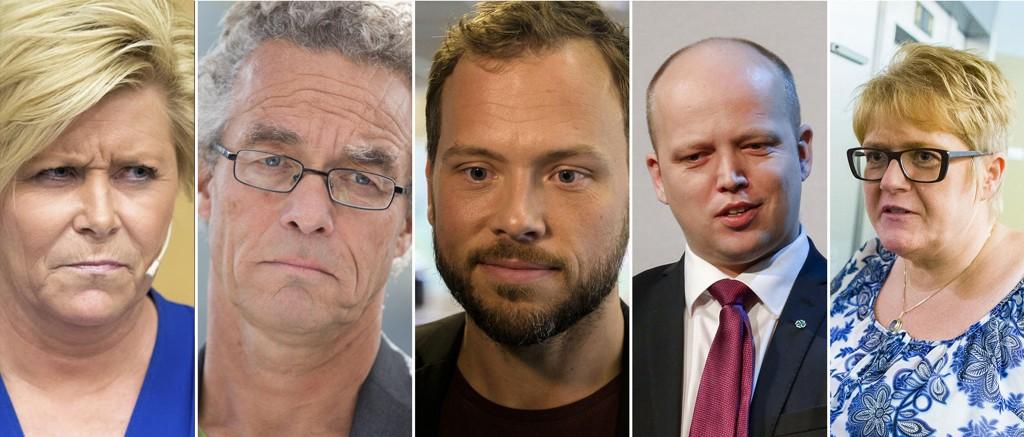 Siv Jensen (Frp), Rasmus Hansson (MDG), Audun Lysbakken (SV), Trygve Slagsvold Vedum (Sp) og Trine Skei Grande (V). Er det noen av dem som får din stemme i høst?