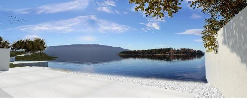 SER MOT UTØYA: Slik blir utsikten mot Utøya fra Statsbyggs anbefalte forslag til et 22. juli-minnested på Utøyakaia.