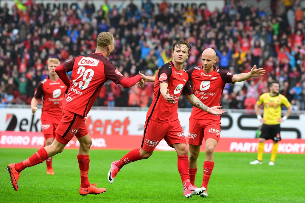 Fredrik Haugen (i midten), Kristoffer Barmen og Ruben Kristiansen har hatt mange anledninger til scoringsjubel denne sesongen.