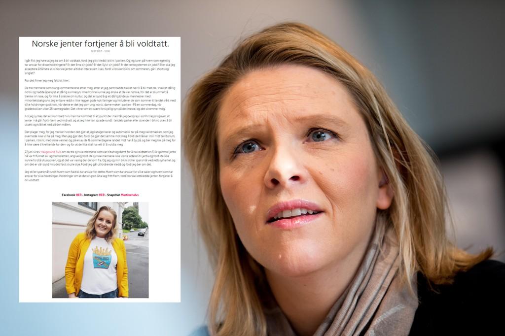 Side2-blogger Martine Halvorsen (innfelt) fikk stor oppmerksomhet etter at hun ble utsatt for trakassering fordi hun gikk i bikini i parken. Innvandrings- og integreringsminister Sylvi Listhaug sier at jenter må anmelde slike type tilfeller av trakassering.